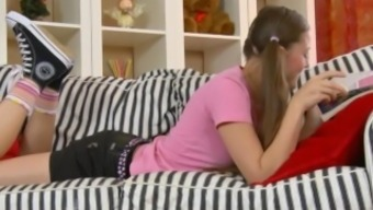 Blonde Teen Will Get A Hard Anus Dicking Located On The Settee