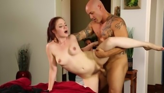 Redhead Fucked Upon The Massage Therapy Counter By A Muscular Bloke