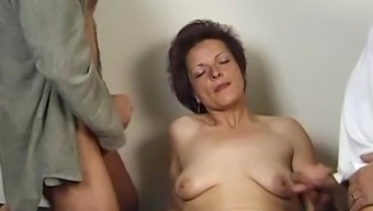 In German Granny Loves Threesome