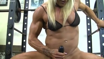 Muscle Missy Fucks A Dildo During A Workout Session