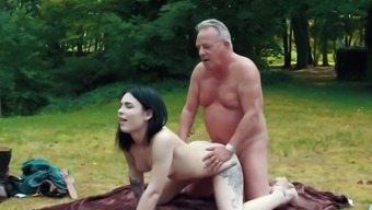 Romantic Party Acts As Horny Fuck For Grand Father And Her Young Adult Girl Friend