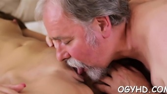 Sizzling Younger Playgirl Gangbanged By Old Stud