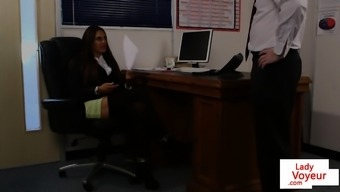 English Man Voyeur Guides Subwoofer To Jerk In Business Office