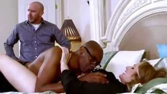 Strumpet Wife Gets Her Pussy Polished By Bbc Despite Her Spouse Seated At The Side Of Her