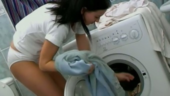 Tainted Young Adult In White Panties Masturbates Pussy On Any Laundry Machine