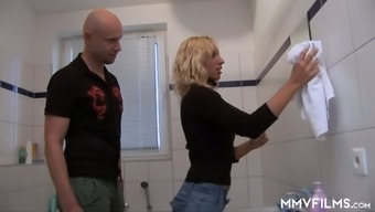 Slim Flaxen Gf Is Touching Penis Before Crazy Greyhound Dog Design Sex In The Wash Room