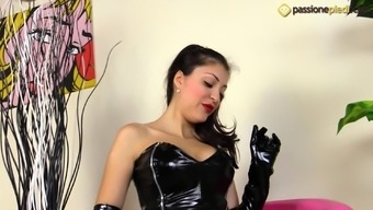 Horny Eden Is Wear A Leather Covered Tub Chair Clothes And Needs You To Actually View Her Feet
