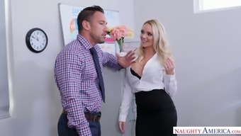 Curvaceous Appetizing Blonde Sexpot Alexis Monroe Is Fucked In The Office