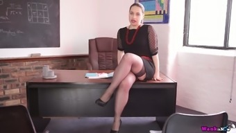 Curvy Desk Olga Is Teasing And Masturbating On The Hiring Managers Tables