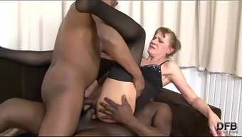 Interracial Threesome Granny Bounded Hard In Her Ass And Pussy Hard Anal