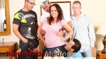 Husband Surprises His Busty Wife With An Anniversary Gangbang