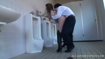 Japanese Milf Effect And Gets Fucked Within The General Public Wash Room