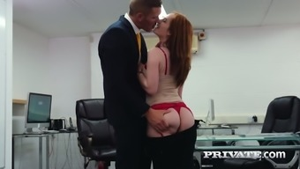 Scarlet Haired Damsel Ella Hughes Is Happy By Using Great And Hard Lift