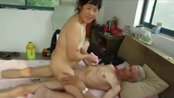 From Asia Grandpa Trio By Using Mature Girl