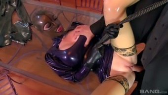 Colossal Breasted Lucy Latex Encourages Two Different Men Drills Her Severely Profound Pussy (Fmm)