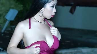 Smoking Sizzling Far Eastern Babe Wedged Going For A Swim Topless