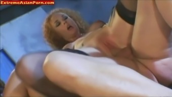 Far Eastern Girl In Stockings With Hairy Pussy Gets Fucked Hard