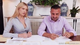 Giselle Palmer Distributes Her Both Legs On A Counter For A Man'S Prick