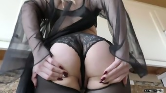 Mean Female In Ripped Pantyhose Lisey Adorable Gets Her Pussy Chastisize