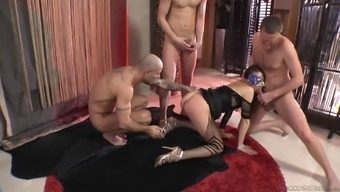 Masked Beauty In Fishnet Intimate Apparel Fucked Inside A Warm Gangbang