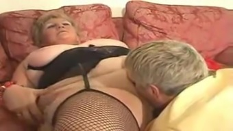 Large Golden-Haired Grannie Drilled By Youthful Dude