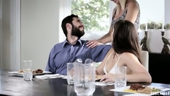 Bearded Bf Of Horny Milf Lures Stepdaughter To Finger Her Juicy Pussy
