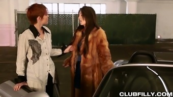 Greedy For Lady Juice Red Head Licks Pussy Of Sexy Brunette Jojo Kiss On The Car Hood