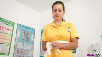 Lusty Nurse Tindra Frost Unbuttons Yellow Uniform Dress And Plays With Boobs
