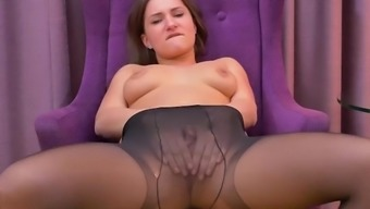 Hot Teen Ellen Betsy Plays With Her Lovely Sheer Black Nyloned Pantyhose Ass And Smooth Wet Pussy Masturbating To Orgasm