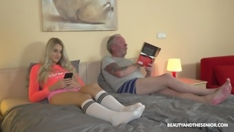Long Haired Teen Blonde Diane Chrystall Blows An Older Guy'S Cock