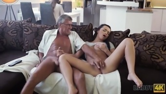 Daddy4k. Greyhaired Old Man With Glasses Fucks Beautiful