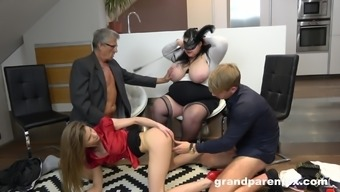 Kinky Foursome With Mature Bbw Brunette And A Teen Blonde