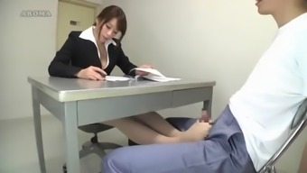 Japanese Lawyer Give Pantyhose Footjob To A Prisoner