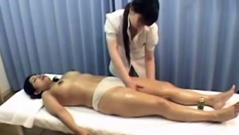 Subtitled Japanese Topless Lesbian Oil Massage Foreplay